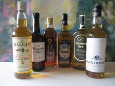 6 bottles - 1 Macaulay Premium 70 cl – Canadian Club 70 cl – Tullamore Dew 70 cl – Glen Horney 3 years 70 cl – Highland Busby 70 cl – Old West 3 years 70 cl