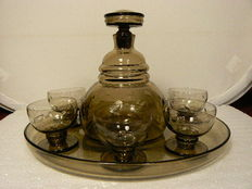 Art Deco cut decanter with glasses on tray