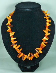Antique Baltic amber necklace. Collectible & jewelry in butterscotch – honey color