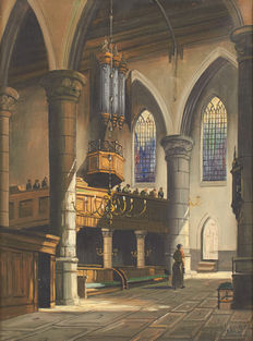 Jacobus Lambertus Dispo (1890-1964) – animated Interior of a cathedral