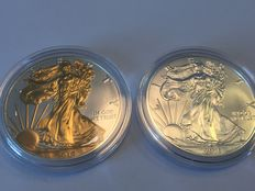 United States - 2 x $1 American silver Eagle 2016 + American Eagle 2016 - partially plated with 24-carat gold