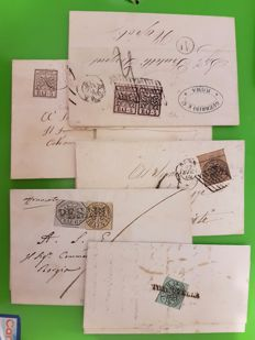 Papal State 1852, 5 letters with mixed franking