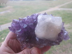 Amethyst and cristal calcite - 13 x 7 cm - 373 g