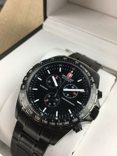 Swiss Military Chronograph Black Steel - herenhorloge - referentie 14570J