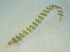 Victorian gold bracelet with natural turquoises