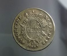 Grand Duchy of Tuscany - 1/2 Paolo 1857 Leopoldo II of Lorena - Silver