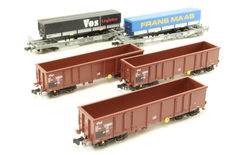 Fleischmann N - 828338/845360/845362 - 2 flat carriages 'Frans Maas' and 'VOS Logistics' and 3 open freight carriages from NS
