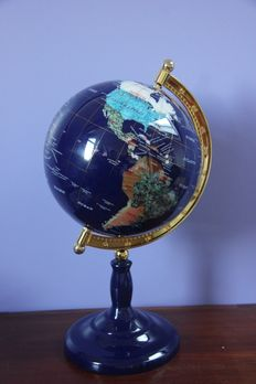 World globe, made of Lapis Lazuli and 45 other Precious Stones, and inlaid with 14ct yellow Gold - 420mm