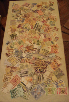 World - 206 banknotes from 4 continents -  103 pairs with consecutive serial numbers.
