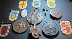 Original 13 German badges, military 3rd Reich, Winter Relief & 1st World War, etc.