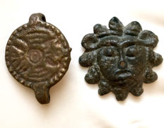 Ancient Roman Bronze Aplique of Sol and a bronze ring engraved with an eagle on the bezel - 19mm / 23mm.