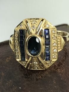 Calibrated sapphire and diamond 18k gold