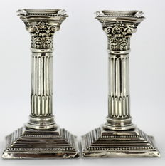 Pair of Filled Sterling Silver Candlesticks, Made in Birmingham 1911, By M Emanuel