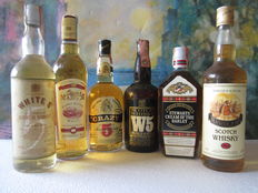 6 bottles: Stewarts Cream of Barley – Crazy 5 years old – W5 Double U Five – White 5 years old - Master John – Queen Margot 70