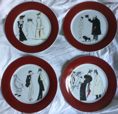 Maxim's of Paris - Set of four dessert plates, illustrated with scenes of old-age Parisian life