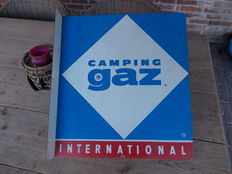 "Old sheet metal sign for ""campinggaz"", from the 60s"