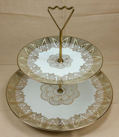 Ancient porcelain stand with gold details - 1940s/50s