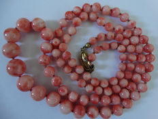 Natural angel skin Pelle de Angelo coral necklace, 375 gold clasp - from approx. 4 mm to 13 mm