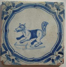 Antique tile with a squirrel Special scene!