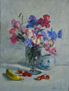 Henry Merchant (act. 1883-1940) - Still life of sweet peas and fruit.