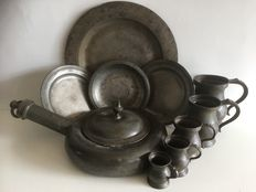 Pewter bedpan, 4 plates & set of 5 English cups -the Netherlands/England-18th and 19th Century