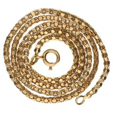 Yellow gold 18 kt, popcorn link necklace – length: 42 cm.