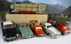 STF, China - Length 17-35 cm - Lot with 6 tin vehicles, 1970s/90s