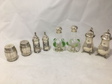 Collection of 4 pairs of silver salt and pepper pots.