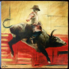 Bull Riding - Painting on wood signed Mahe