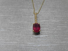 0.80ct/0.025ct Ruby and diamond Pendant