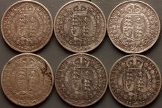 United Kingdom - Half Crown 1887/1892 (6 coins) Victoria - silver