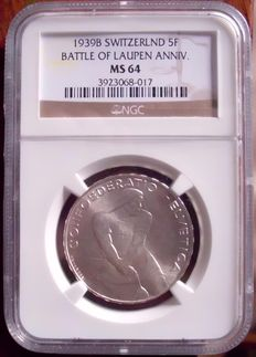 Switzerland – 5 Francs 1939 Battle of Laupen – silver
