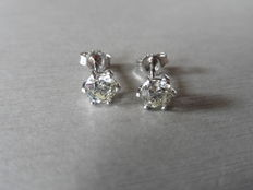 18k Gold Solitaire Diamond Stud Earrings - 0.65ct  I-J, SI1
