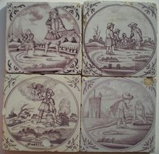 Lot of 4 antique tiles with biblical scenes (special)
