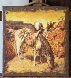 Wild West Horse - Paint on canvas signed Mahe