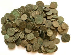 Roman Empire -Large collection of 200 Roman bronze coins-not cleaned- 1st / 4th. Century A.D.