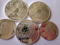 Spain – Royal Mint, Madrid – A lot of five silver coins – Three coins of 10 euro  Two coins of 1000 pesetas