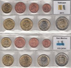 Vatican and San Marino, year series euro coins 2001 and mixed years