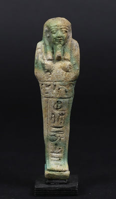 Egyptian faience Ushabti for Pasinebu - 107 mm