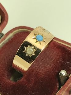 14k turqoise and pearls gipsy gold ring size 57