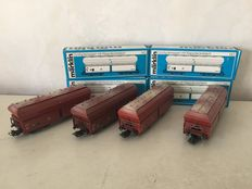 Märklin H0 - 4626 - Four self-discharging wagons with tiltable cover of the DB