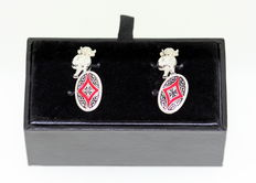 Sterling Silver and Enamel Devil Cuff Links