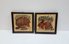 Maw & Co Majolica painting two tiles in a frame - animals