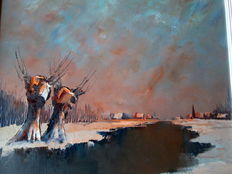 Leo Jordaens (1944-2000) - Winter in het Waasland
