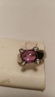 925 silver ring, with amethyst and diamonds
