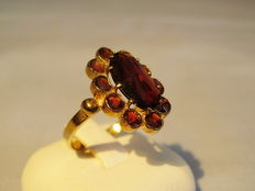 Victorian gold ring with Bohemian Rose garnets.
