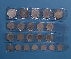 "Belgium – 1/2 through 2 Francs 1910/1914 – complete series of 22 silver coins ""Devreese / Albert I"""
