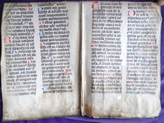 Incunabel; Lot with 2 double pages, once used as bookbinding - Approx. 1450