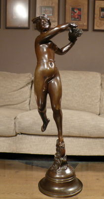 Marcel Début (1865-1933) - bronze statue nude with Horn of Plenty - France - ca. 1900
