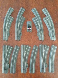 Märklin H0 - 24671/24672/24612/24224/24977 - 11-piece collection of C-track switches, tracks and buffer block